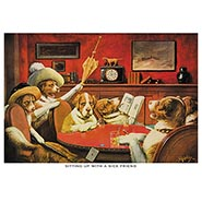 Sitting Up With a Sick Friend Poker Dogs Print by C M Coolidge