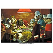 Pinched with Four Aces Poker Dogs Print by C M Coolidge