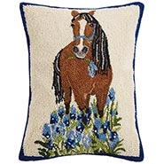 Horse with Lavender Hooked Wool Pillow