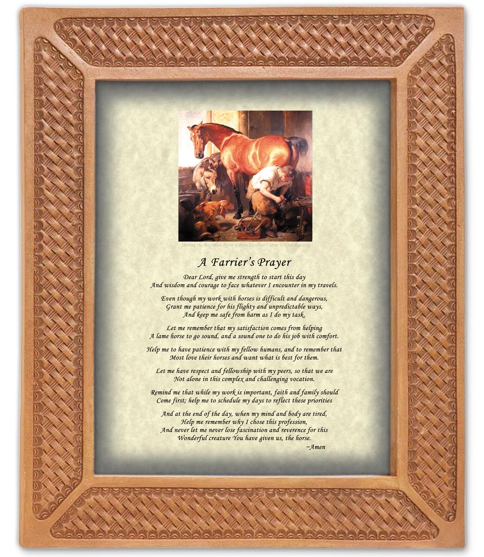 Basket Weave Frame Farriers Prayer-www.hoofprints.com