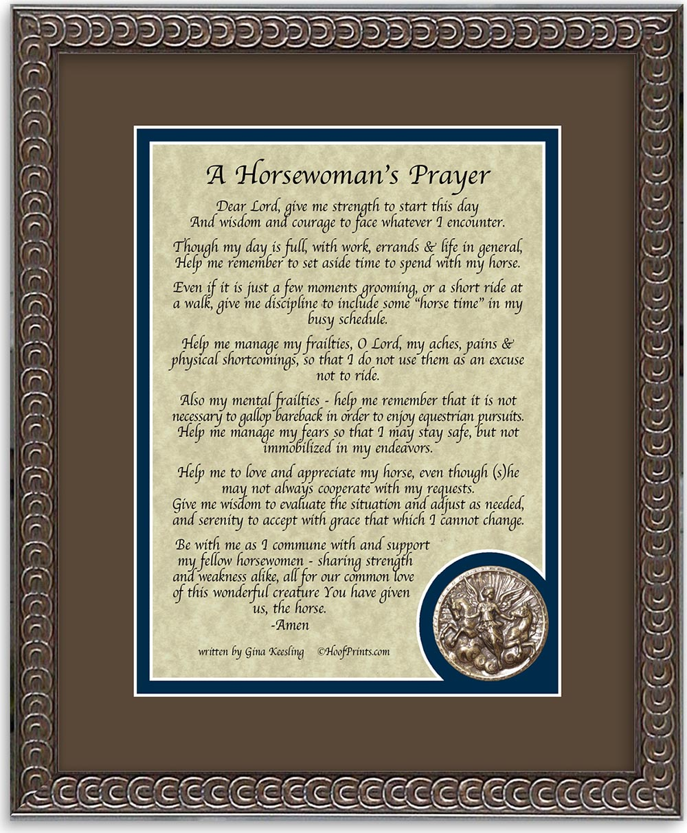 Horsewomans Prayer Framed Verse With Medallion-www