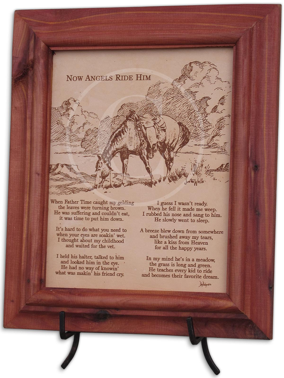 Now Angels Ride Him 8x10 Framed Verse On Leather