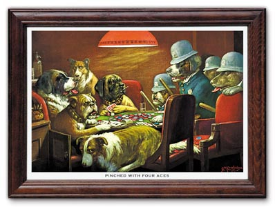 Pinched with Four Aces Poker Dogs Print by C M Coolidge FRAMED