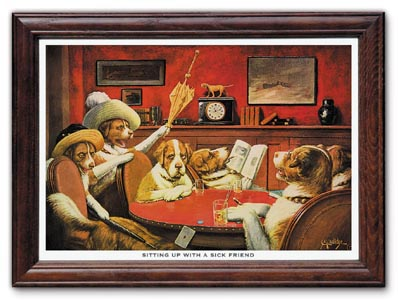 Sitting Up With a Sick Friend Poker Dogs Print by C M Coolidge FRAMED