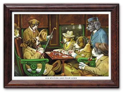 His Station and Four Aces Poker Dogs Print by C M Coolidge FRAMED