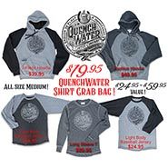 QuenchWater Coffee Garment Sample Grab Bag. ONLY ONE OF EACH - all are awesome - I PICK WHICH ONE YOU GET