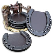 Horseshoe Coasters with Faux Leather Pads