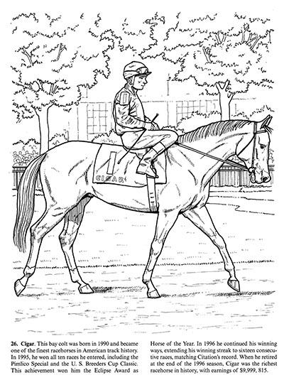 Great Racehorses Coloring Book Hoofprints
