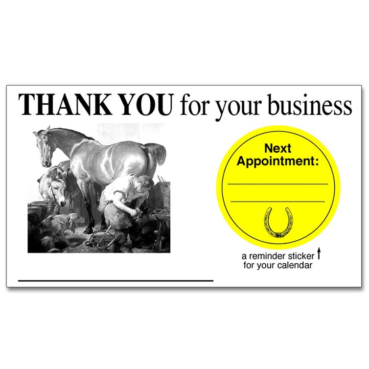 Thank You for your Business Card/Next Appointment Sticker Combo ...