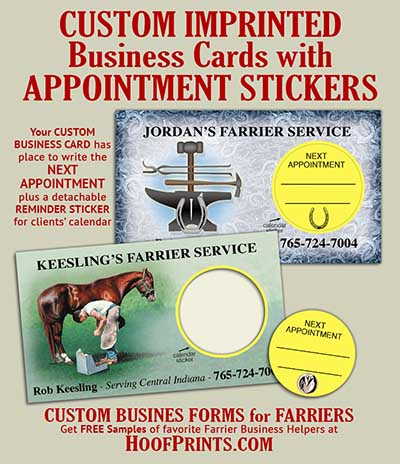 Custom Business Cards With Appointment Sticker Modern Farrier