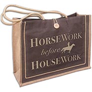 HORSEwork before HOUSEwork Big Burlap Tote