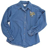 Ladies Longsleeve Denim Shirt with Barn Girl Embroidery  ** SALE $10.00 OFF **