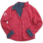 Ladies Suede Stable Jacket - Red with Charcoal Fleece Lining