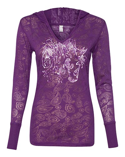 Cool Paisley Burnout Purple Longsleeve T-shirt