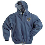 Mountain Blue Quarter Zip Sweat w/Plaid Flannel Lined Hood **SALE $10.00 OFF**