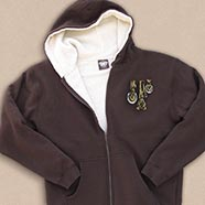 Brown Sherpa Lined Sweatshirt w/embroidered Horse Legs logo