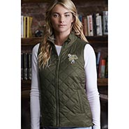 Lightweight Diamond Quilt Vest with Barn Girl Embroidery