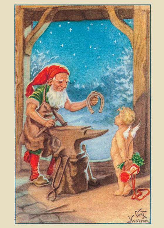 vintage blacksmith w baby new year card with thank you for your