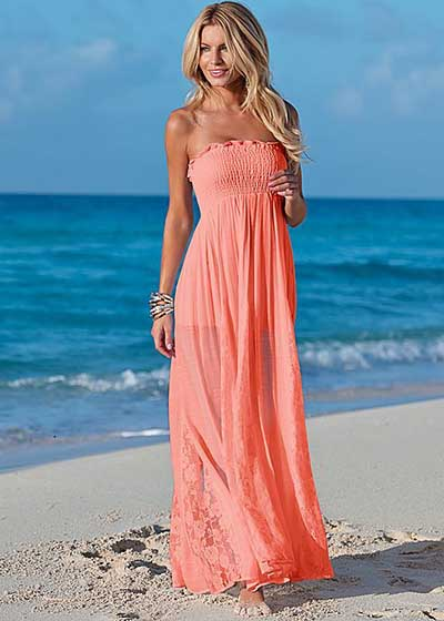16adaeeb8c51 Venus Lace Detailed Coral Maxi Dress *ONLY ONE AVAILABLE size MEDIUM ...