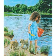 Summer Bliss - Girl with Golden Puppies Print by Carla D'aguanno  ONLY ONE AVAILABLE